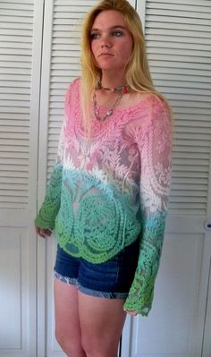 Crochet lace tunic bohemian top color block  ombre festival  Coachella gypsy blouse sea green aqua raspberry  Semi sheer top  crochet  shirt