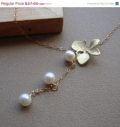 Etsy - Orchid Lariat Necklace