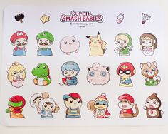 """Glossy 8.5"""" x 11"""" uncut sticker sheets featuring characters from Super Smash Bros as babies. Includes Mario, Kirby, Luigi, Yoshi, Ness, Pikachu, Samus, Jigglypuff, Captain Falcon, Marth, Link, Diddy Kong, Princess Peach, Ice Climbers, Princess Zelda, Fox McCloud, King Dedede, and Donkey Kong.  ..."""