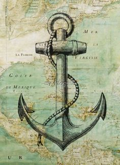 Vintage Nautical Map with Anchor. We be sailin' in some mystical seas. Are ye ready? Weigh the anchor me hearties! Nautique Vintage, Etiquette Vintage, Nautical Art, Nautical Tattoos, Vintage Nautical Decor, Nautical Interior, Nautical Quilt, Nautical Design, Nautical Anchor