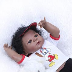"Lifelike Vinyl 16/"" Reborn African American Baby Boy Doll Photography Props"
