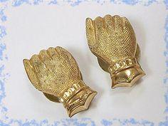 Stunning Antique ~ 1880s Florentine Hand Fist Cuff Links Cufflinks ~ Gold Gilt Estate Treasure