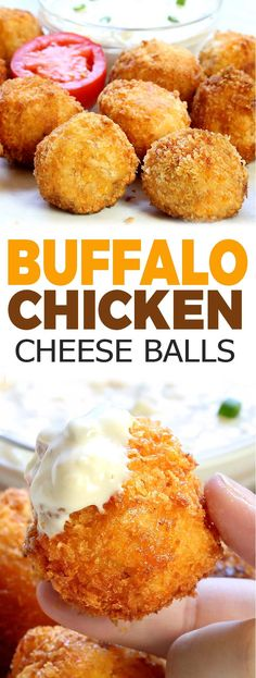 Easy Buffalo Chicken Cheese Balls - Sugar Apron - - All the flavor of Buffalo chicken dip rolled into a ball, breaded and deep fried. These Buffalo Chicken Cheese Balls come together quickly and fly off the plate just as fast. Buffalo Chicken Rolls, Buffalo Chicken Dip Recipe, Buffalo Chicken Dip Ingredients, Fried Cheesecake, Best Chicken Recipes, Cheese Ball, Savoury Cake, Appetizer Recipes, Snacks Recipes