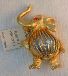 Vintage Joseph Warner Blue Rhinestone Belly Lucky elephant Brooch #vintagejewelry #Warner #brooch #elephant #bluecrystal $52.00