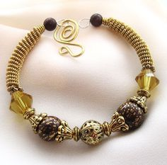 Ten Dollars OFF  Gold Wire Wrapped Bracelet with Brown Clay by SarahsArtisanJewelry, $30.00