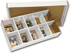 BCW Sorting Tray (10 Slots) - (Bundle of 25) Corrugated Cardboard Storage Box - Baseball, Football, Basketball, Hockey, Nascar, Sportscards, Gaming & Trading Cards Collecting Supplies by BCW. $42.95. The BCW Storage Box is the highest quality, most competitively priced cardboard storage box on the market today. They are constructed of white corrugated paper and have a 200 lb. test strength. Use the Sorting tray to quickly sort all of your collectible trading cards.
