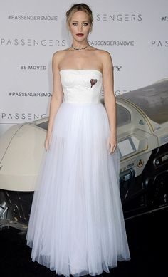 Jennifer Lawrence in Christian Dior attends the L.A. premiere of 'Passengers'. #bestdressed