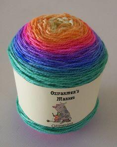 Ozimerino.  Hand-dyed rainbow semi-gradient yarn.  Candy Stripes by OzifarmersMarket on Etsy