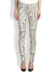 7 FOR ALL MANKIND Graphic Snakeskin-Print Skinny Jeans