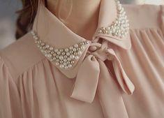 Sew pearls onto blouse collar Hijab Fashion, Diy Fashion, Ideias Fashion, Fashion Dresses, Womens Fashion, Fashion Design, Street Fashion, Faux Col, Designs For Dresses