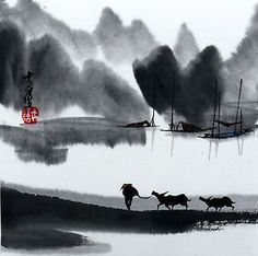 Chinese-small-painting-landscape-6-7x6-7-brush-traditional-Asian-watercolor-art