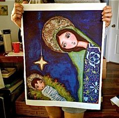 Nativity Star - Large Print on Fabric  (16 x 20 inches) by FLOR LARIOS by FlorLarios on Etsy