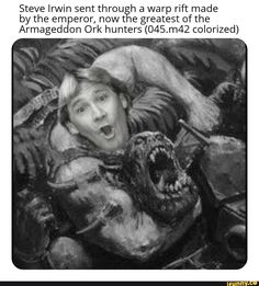 Steve Irwin sent throutãh a warp rift made by the emperor, nowt e greatest of the Armageddon Ork huntersg colorized) - iFunny :) Warhammer 40k Memes, Warhammer 40k Figures, Warhammer Art, Warhammer Fantasy, Warhammer 40000, Dankest Memes, Funny Memes, Nerd Funny, Jokes