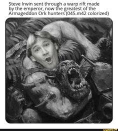 Steve Irwin sent throutãh a warp rift made by the emperor, nowt e greatest of the Armageddon Ork huntersg colorized) - iFunny :) Warhammer 40k Memes, Warhammer 40k Figures, Warhammer 40k Art, Warhammer Fantasy, Dankest Memes, Funny Memes, Nerd Funny, Jokes, Filthy Memes