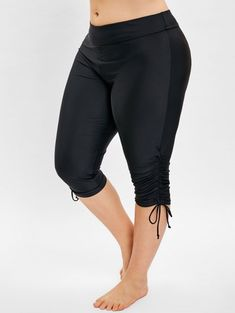 Side Drawstring Plus Size Knee Length Swim Pants - Cheapest and Latest women & men fashion site including categories such as dresses, shoes, bags and - Swim Bottoms, Bell Bottoms, Dresser, Lingerie, Plus Size Swimwear, Queen, Bra Styles, Two Pieces, Shapewear