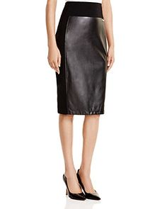 CALVIN KLEIN Faux Leather Pencil Skirt. #calvinklein #cloth #skirt