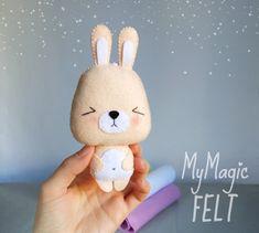 Bunny ornament felt decor cute rabbit nursery decorations baby