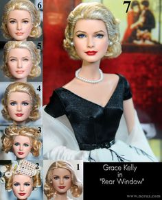 Grace Kelly doll repaint from Rear Window by *noeling on deviantART.  The skill it takes to capture the true beauty a person has starting from a lack luster doll.  This guy is just amazing!