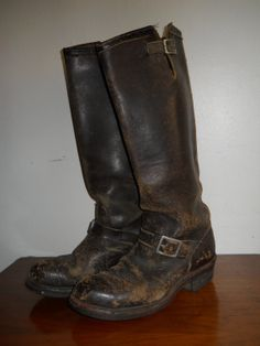 Vintage Chippewa Engineer Boots Motorcycle Brown Leather