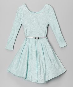 Look at this Beautees Ice Blue Belted Texture Dress on #zulily today!