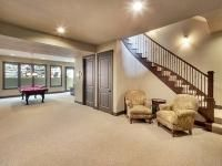 Aspen Ridge I Basement Staircase with Pool Table and Entertaining Space