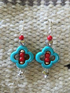 Cowgirl Western Native American Boho Turquoise Coral Sterling Heart Earrings by Bohemystic on Etsy Heart Earrings, Silver Earrings, Western Jewelry, Coral Turquoise, Heart Charm, Artisan Jewelry, Native American, Dangles, Bohemian