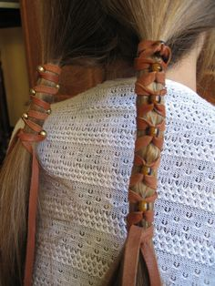 Brown Leather Hair Wrap with Glass Beads