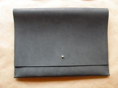 Black Oil Tanned Leather Portfolio Clutch