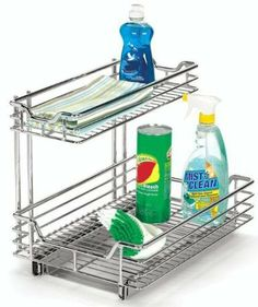 """12"""" Under Sink Sliding Organizer, 14.25""""Hx12.5""""W, CHROME by Home Decorators Collection. $84.00. Fully assembled.. 14.25""""H x 12.5""""W x 17.75""""D/. Make use of that previously wasted space under your kitchen sink with this outstanding organizer. With two shelves, it has ample room for all of your cleaning supplies, waste bags and other kitchen necessities. Order yours today. Reverse mount allows installation on right or left side of cabinet. Heavy-duty chrome construction will..."""