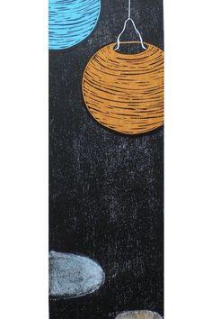Blanket On Wall, Paper Lanterns, Linocut Prints, Woodblock Print, Tissue Paper, Paper Size, Solar, It Cast, Pastel