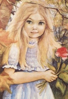 Girl with a rose Pencil Drawings, Art Drawings, Drawing Art, Pintura Country, Decoupage, Precious Children, Children's Literature, Love Pictures, Various Artists