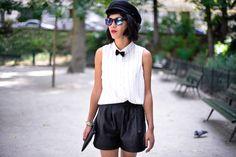 http://ledressingdeleeloo.blogspot.fr/ #Manteau #Chemise #Short #Derbies #Casquette #Pochette @Pimkie #GalaGonzalezXPimkie