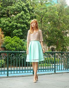 Daywear Sequins Feat. Zara, She Inside, Salvatore Ferragamo http://itscamilleco.com/2014/07/shine-2/