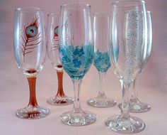 Hand painted champain glass    http://www.inasbeads.blogspot.com