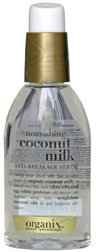 $6.43-$17.20 Organix Anti-Breakage Serum, Nourishing, Coconut Milk, 4 oz. - Beauty pure and simple. Indulge your senses with this exclusive blend of organic coconut milk to nourish your hair, while ultra whipped egg white proteins add strength and elasticity, along with weightless coconut oils to add hydration and balance. Beauty pure and simple. Sulfate free. Organic coconut milk & oils. Why We L ...