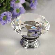 1 unids 30mm de Aleación de cristal de Diamante de Cristal Manual de Barra de la Manija Armario Armario Tire de la Manija Del Cajón de Puerta Perillas de La Gota En Todo El Mundo tienda