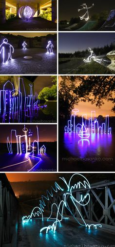 At night the neon creatures came to life. Write a short paragraph about the events they got up to over one evening. Cityscape Light Drawings by Michael Bosanko