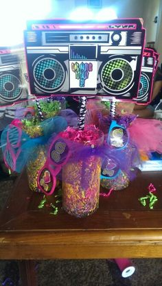 80s centerpiece for 90 s party decoration ideas