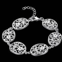 2016 новинка мода женщины серебряный браслет Высокое качество роскошные украшения красивая решетки 925 нити…