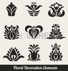 Elementos Florales Decoración - flores estilizadas Foto de archivo