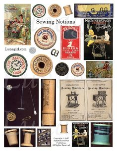 SEWING NOTIONS -collage vintage wooden spools thread ephemera needles pins Victorian sewing/machine ads