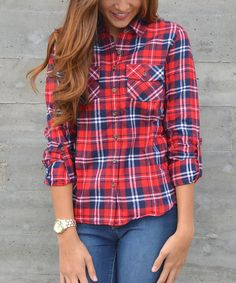 Another great find on #zulily! Red & Navy Plaid Button-Up #zulilyfinds