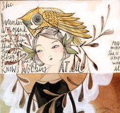 woman owl print   5 x 10  archival print  the knowing by corid, $20.00