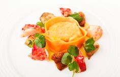 Lobster tortelloni, roast chicken wings and sweetcorn purée by Kevin Mangeolles@british chefs