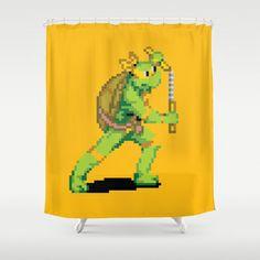 Pixelated Teenage Mutant Ninja Turtles (TMNT) - Michaelangelo Shower Curtain