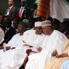 Buhari and Saraki share a laugh at Independence Day celebration