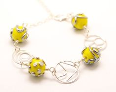 Yellow Ball Bracelet - Lampwork Jewelry - Glass Bead Jewelry - Gift For Her - Beadwork Jewelry - Polka Dot Jewelry