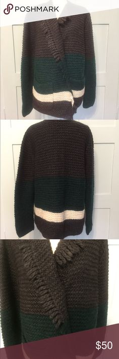 """Madewell NWT hand knit cardigan Hand knit cardigan with detachable pin closure. Size XL, new tags, excellent new condition. Dark charcoal grey, dark forest green, and ivory. Bust: 22"""", sleeve: 27"""", length: 30"""" Madewell Sweaters Cardigans"""