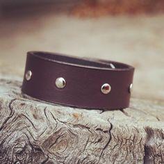 Silver riveted brown custom leather cuff. $25 #leathercuff