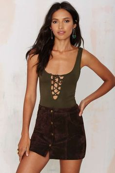 Tie Me Up Lace-Up Bodysuit - Olive   Shop Clothes at Nasty Gal!